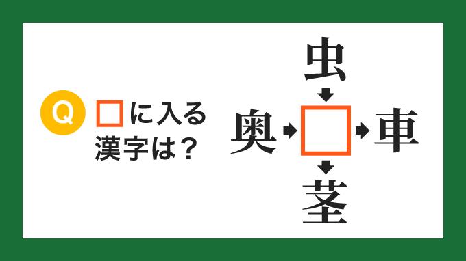 【クロス熟語】「奥□」「虫□」「□車」「□茎」の□に入る漢字は?