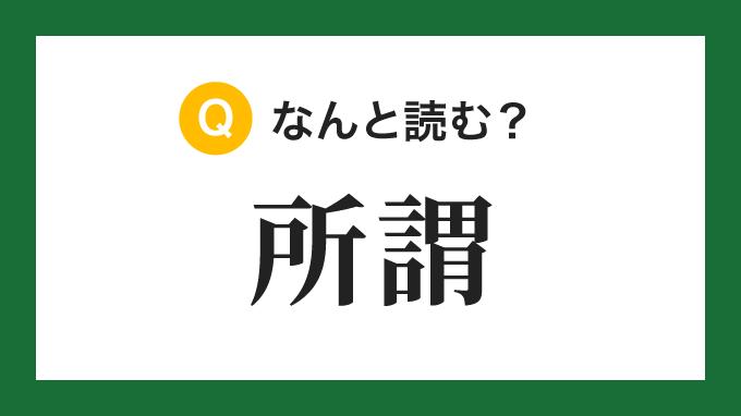 【漢字】「所謂」の読み方は?