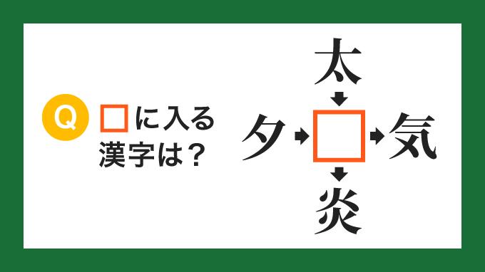 【クロス熟語】「夕□」「太□」「□気」「□炎」の□に入る漢字は?