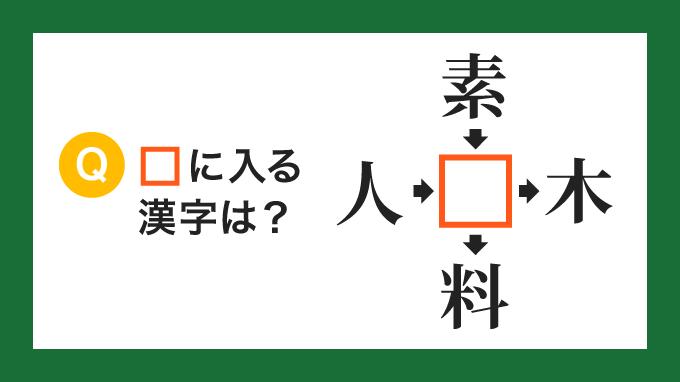 【クロス熟語】「人□」「素□」「□木」「□料」の□に入る漢字は?