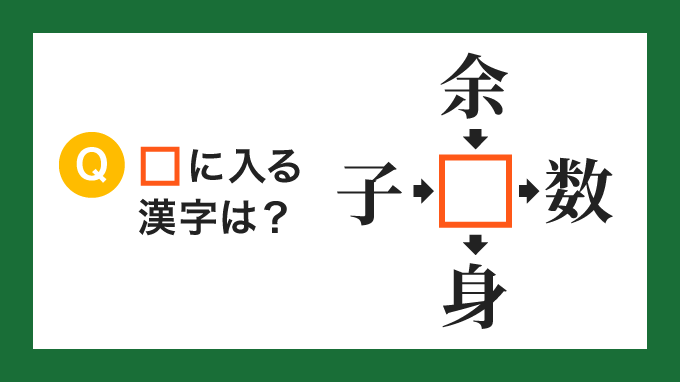 【クロス熟語】「子□」「余□」「□数」「□身」の□に入る漢字は?