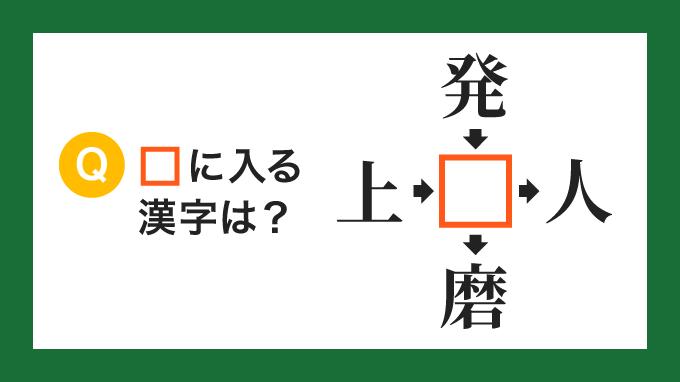 【クロス熟語】「上□」「発□」「□人」「□磨」の□に入る漢字は?