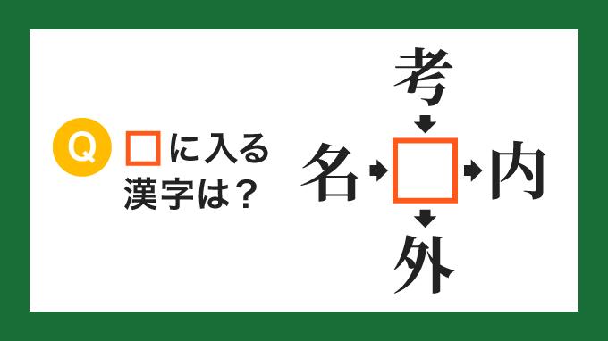 【クロス熟語】「名□」「考□」「□内」「□外」の□に入る漢字は?