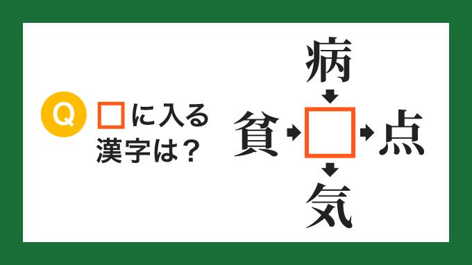 【クロス熟語】「貧□」「病□」「□点」「□気」の□に入る漢字は?
