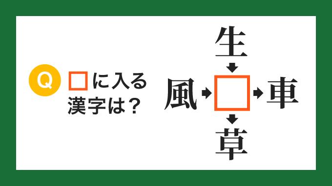 【クロス熟語】「風□」「生□」「□車」「□草」の□に入る漢字は?