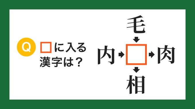 【クロス熟語】「内□」「毛□」「□肉」「□相」の□に入る漢字は?